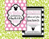 DIY Baby Girl Minnie Mouse Baby Shower Invitation