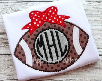Machine Embroidery Design Applique Football Bow Beaded INSTANT DOWNLOAD