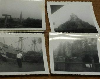 Disneyland  photos . Black and white.. 1960s . Space mountain 1970