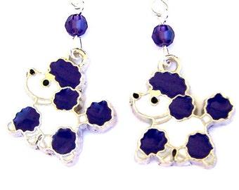 Purple poodle earrings, purple and white dog earrings, enamel dogs with Swarovski crystal
