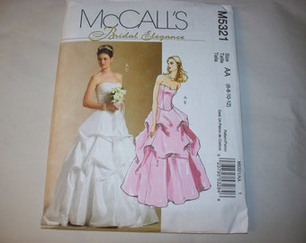 New McCall's Bridal Gown Pattern, M5321 (AA) (6-8-10-12) (Free US Shipping)