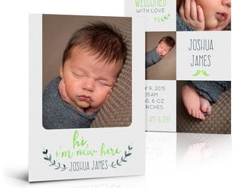 Boy Birth Announcement Card - SIMPLY BABY JOSHUA - (2) Press Printed 5x7 Flat Photoshop Card Templates for Photographers and Scrapbooks.