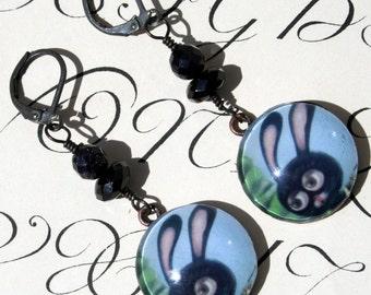 Black Bunny earrings by Ilona Cutts