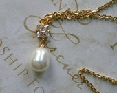 Goldstone Square Cut Rhinestone with White Glass Pearl Drop Necklace  Great for Bridesmaid Gifts Wedding Bridal