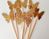 Dozen Gold Butterfly Cupcake Topper - Gold Glitter Cupcake Butterflies - Spring Party Golden Butterfly Party - Butterfly Birthday Decoration