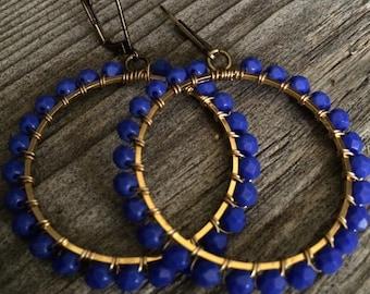Indigo blue hoop earrings