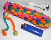 Glass Pipe Case, Rainbow Bikini Pipe bag, Glassware bag, Drawstring cushioned bag