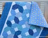 Baby Boy Quilt Blue White