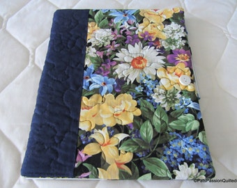 Journal with Quilted Floral Cover Includes Notebook and Pen, Navy Floral Journal Notebook Pen