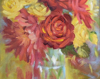 Small Red And Yellow Floral Still Life Painting, Canvas Oil Painting ART, Original by Cheri Wollenberg