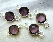 14x7mm Amethyst Bezel Connector, 7mm Gemstone Links, 925 Sterling Silver Double Sided Faceting, BULK WHOLESALE