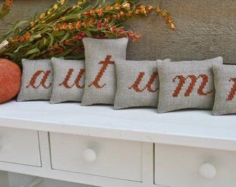 autumn Mini Shelf Pillows / Fall Mantle Decor