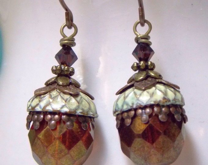 Acorn Earrings, Czech Glass, Boho Ivory Earrings Antique Brass Earrings, Burgundy and Cream Wedding Earrings, Swarovski Crystal Earrings