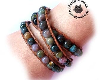 Bracciale 3 giri Wrap bracelet mychau Chan Luu Style donna Agata indiana cuoio naturale
