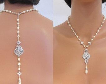 Bridal Backdrop Necklace, Pearl Wedding necklace, Wedding jewelry, Crystal back necklace, Art deco necklace, Rose Gold Necklace, EMMA