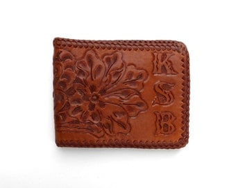 Tooled Leather Wallet Vintage 1970s Stamped