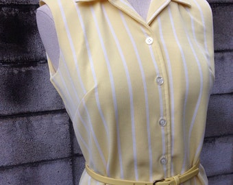 Yellow Polyester Dress 1970s Poly Country Miss Stripe White 70s Seventies Sleeveless