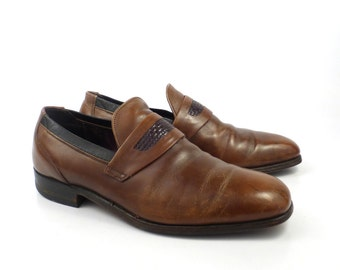 1970s Brown Leather Loafers Vintage Men's Shoes Size 9 1/2 D