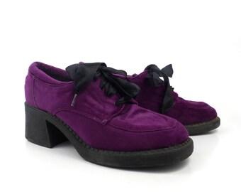 Velvet Oxfords Shoes Vintage 1990s Purple Ellemenno Lace up Women's size 8