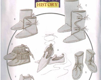 Medieval Historical Period Boots Footwear Reenactment or Halloween Costume Butterick 5233 All sizes Making History Sewing Pattern Men Misses