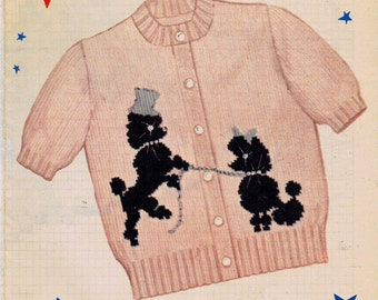 PATTERN 211 Knit O Graf Poodle Sweater Knitting Teen size 12 14 16 18 of the 1950's in an PDF Instant Download