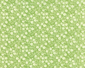 Hello Darling Fabric - Green with Small White Flowers from Moda by Bonnie & Camille - 55117-25 - Yardage