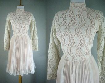 Vintage 1960s Dress Lace Chiffon White Blush Wedding Cocktail Party Tea Dress