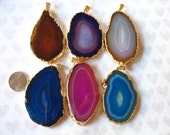 25% Off Sale .. Druzy,, Drusy Agate Pendant Charm, 40-70+ mm, Silver or Gold Electroplated Edge Druzzy, pink blue teal ap50.1 wf solo