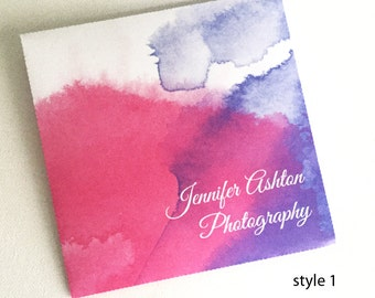 Custom Cd Dvd cases in watercolour style with your logo or inscription set of 10 five styles to choose from