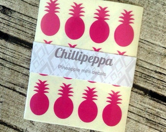 48 Pink pineapple stickers, Pink pineapple mini decals, Pink pineapple envelope seals, for packaging, gift wrapping or wedding invitations
