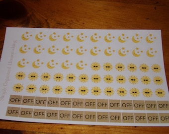 Day Shift Night Shift Day Off Stickers for your Calendar / Life Planner / Filofax