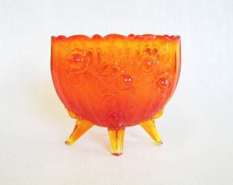 Vintage Amberina, Amberina Glass, Footed Vase, Pressed Glass, Decorative Glass, Collectible Glass, Mid Century, Ombre Glass, Orange Glass