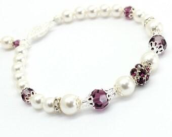 Pearl Bracelet Eggplant Purple Amethyst Swarovski Element Silver Filigree Bridal Bridesmaids Victorian Style Wedding Jewelry