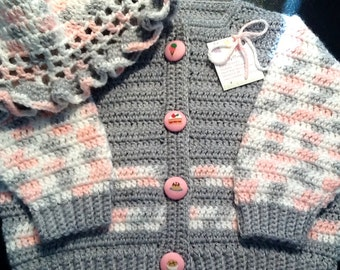 Girl's Crocheted Sweater in Pink and Grey