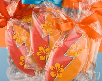 Surfboard Summer Beach Decorated Sugar Cookie Favors