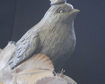 Vintage embellished cake topper, millinary embellished spool, Bird queen topper