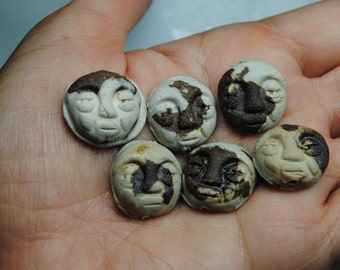 ceramic bead pendant clay necklace ornament set of six SALE