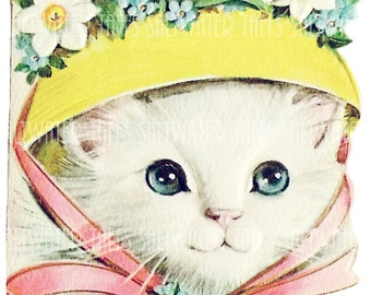 Kitty In A Bonnet  images digital download image fabric transfer decoupage cards birthday easter grandma iron on waterslide decal image tote