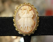 Sorrento Shell Cameo, Brooch or Pendant, Three Graces, Beauty, Youth, and Charm, 1/20 12K GF, Vintage 50s, Like New