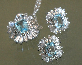 "Brilliant Imitation Jewelry, ""Aquamarine"" & ""Diamond"" Cubic Zirconia, Bridal, Pendant/Earrings, Classic, Tapered Baguettes, Like New"