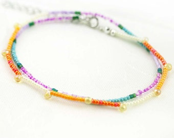 Dainty seed beads double strands anklet