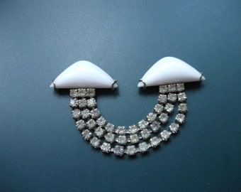 Vintage Milk Glass & Rhinestone Repurpose Clip Finding