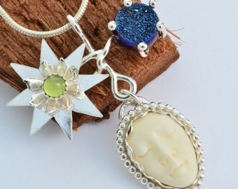 Sterling silver drusy necklace pendant bone face necklace star necklace celestial jewelry peridot necklace whimisical unusual artisan druzy