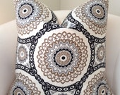 Suzani Pillow Cover Black Pillow Cushion Throw Pillow  Black Beige Gray Decorative Pillow