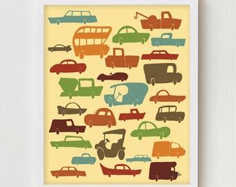 Cars Print Trucks Print Kids Print Art Transportation Poster Automobiles Cars Trucks Bedroom Decor Transportation Automobiles Kids Art Print