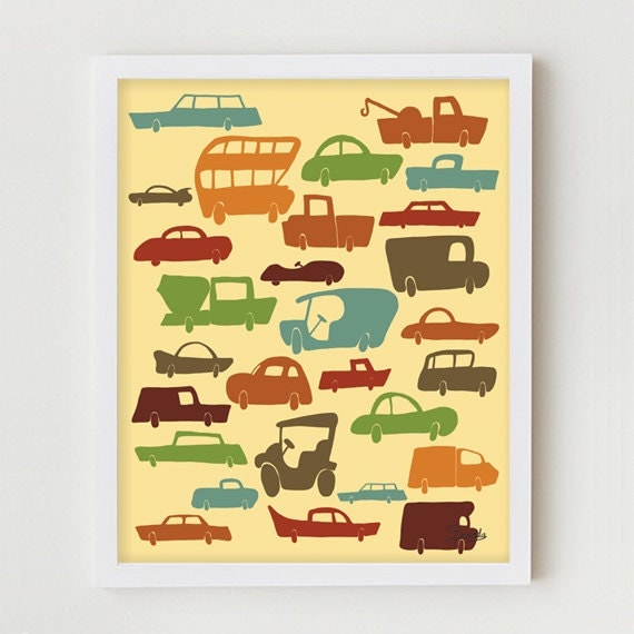 "Cars and Trucks Print / Kids Art Poster ""I Love Cars"" 11x14 Cars and Trucks Bedroom Decor, Automobiles Kids Art Print"