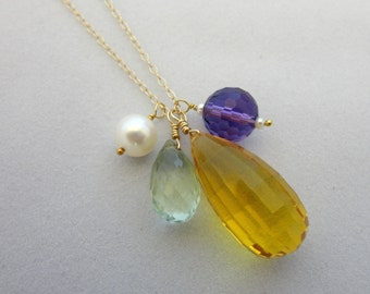 Golden Yellow Cirtine Purple & Green Amethyst Pearl Necklace