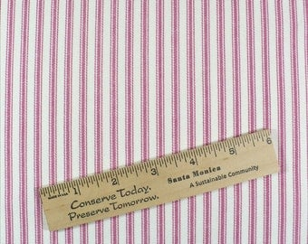 "Vintage fabric, Pink Ticking, Cotton, 1 YARD, 58"" wide"