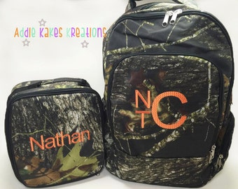 Personalized Camo Woods Print Backpack and Lunch Bag Combo