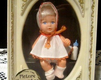Picture Playmates 1960's Baby fully jointed Factory sealed Uneeda Birthday Time